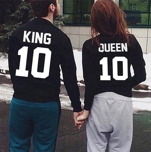 JWBBU King Queen Pull Couple Hoodies Paire Set pour Femme et Homme  Impression des King ET Queen 10 Manches Longues Pullover 2 Pieces   Amazon.fr  Vêtements ... a7ffc10754b6