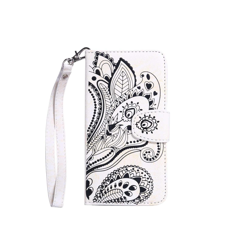 pinlu/® Haute Qualit/é ultra-mince Etui Avec slot Pochette Portable Flip Wallet Housse Similicuir Portefeuille Paon Fleurs Bleu /Étui Pour Samsung Galaxy S7