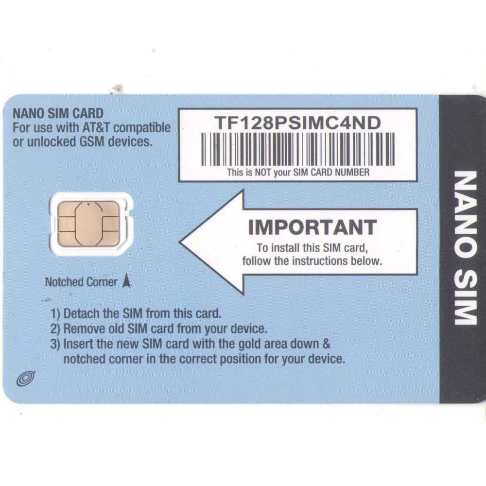 Amazon Net10 Nano SIM Card For IPhone 5 ATT Network Cell Phones Accessories