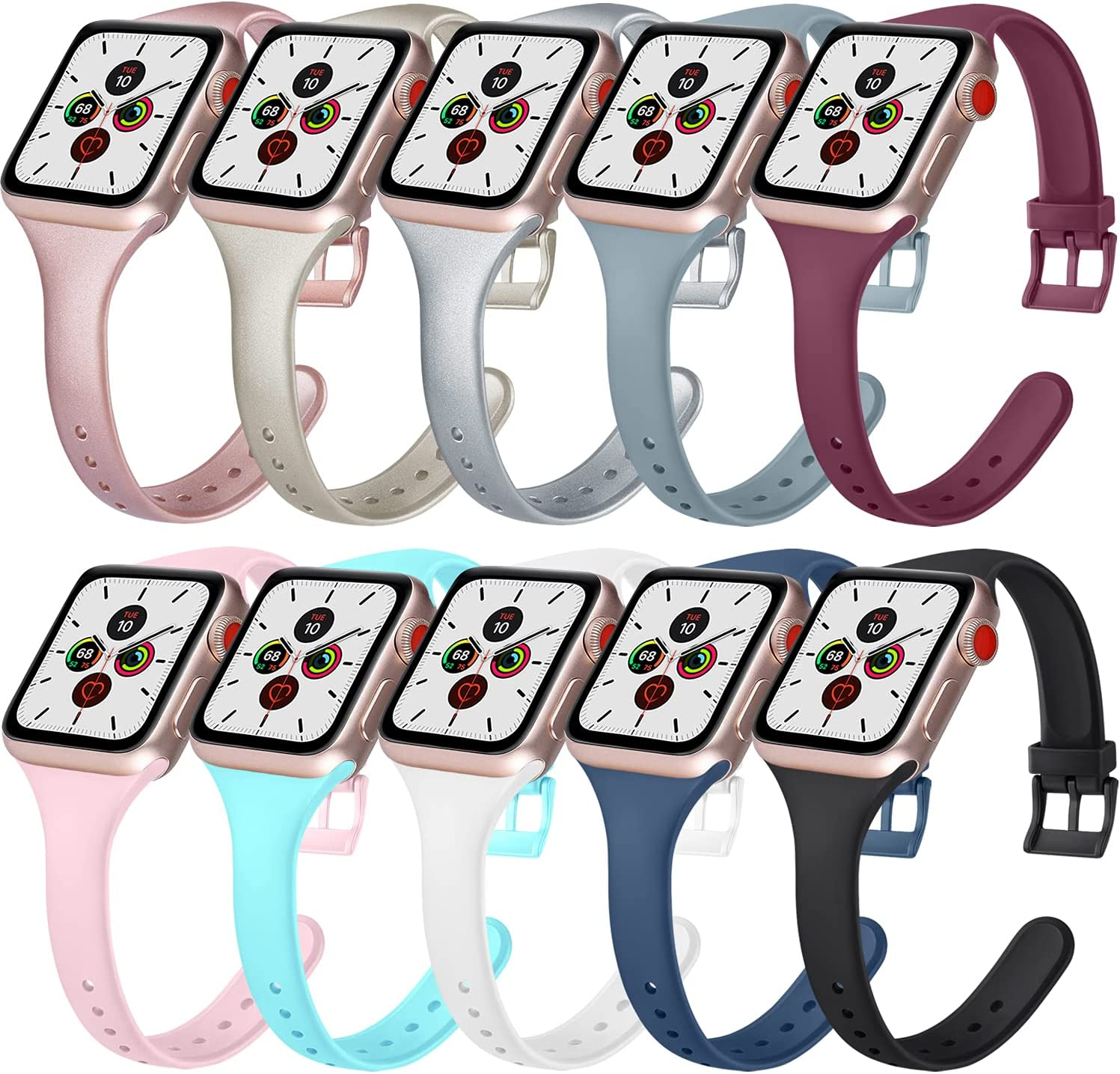10 Pack Silicone Bands Compatible with Apple Watch Band 38mm 42mm 40mm 44mm, Soft Silicone Slim Narrow Band Compatible with iWatch Series 6 5 4 3 2 1 SE(10 Colors,38mm/40mm M/L)