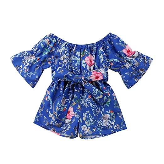 b91391baa89 Clothful 💓 Infant Toddler Baby Girls Off Shoulder Floral Print Bow Romper  Jumpsuit Outfits (2