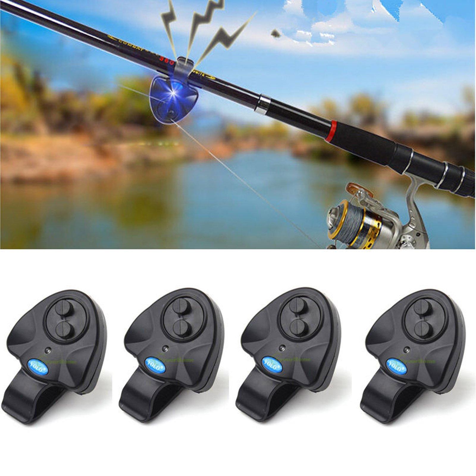 4 Pcs Black Electronic LED Light Fishing Bite Sound Alarm Alert Bell Clip On Fishing Rod by wingsflying