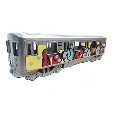 "Metro NYC New York City 7"" Train Puffy Letter Tag Graffiti Retro Subway Car 1/100 Scale Diecast: Toys & Games"