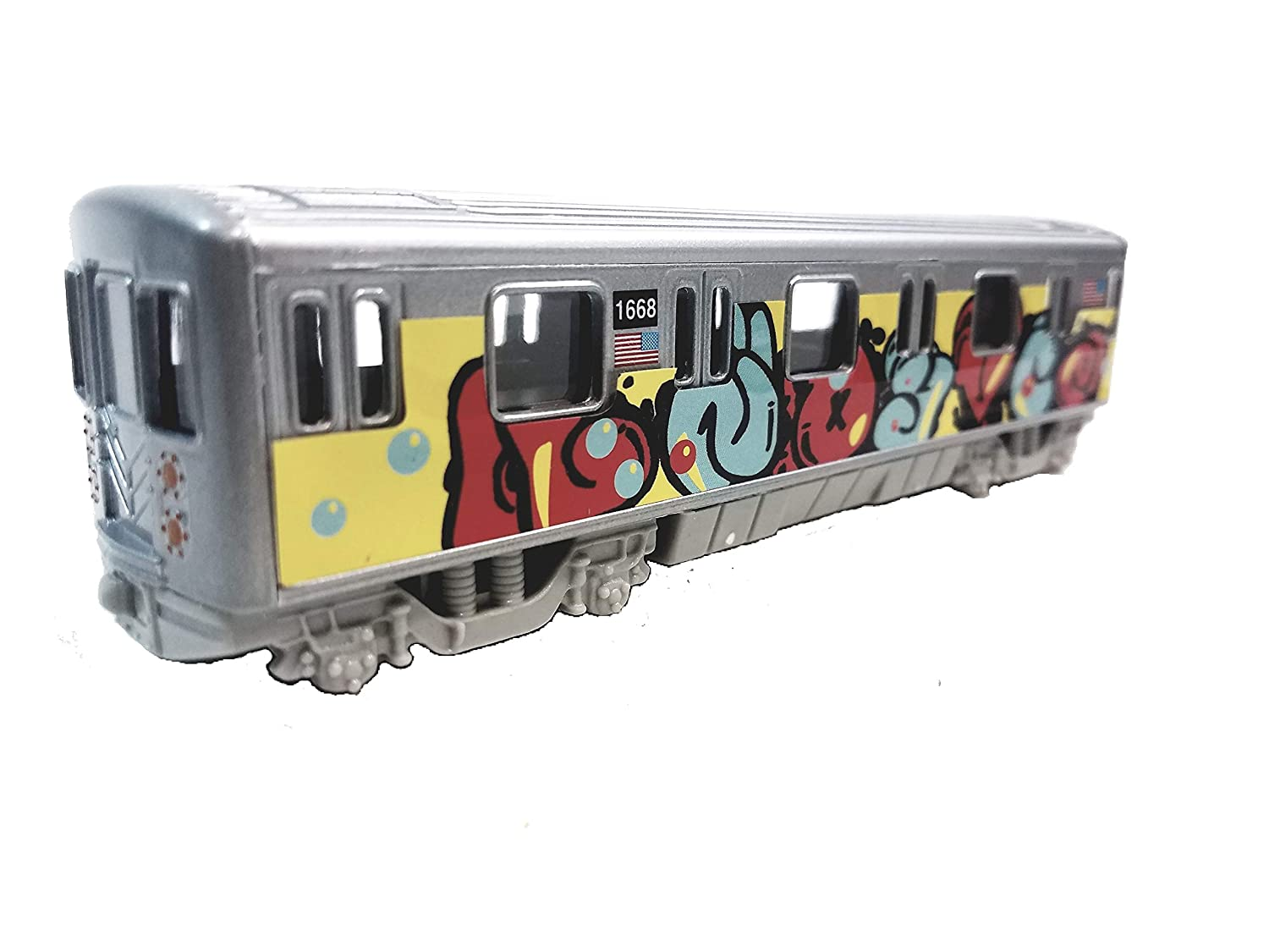 Metro NYC New York City 7 Train Puffy Letter Tag Graffiti Retro Subway Car 1 100 Scale Diecast