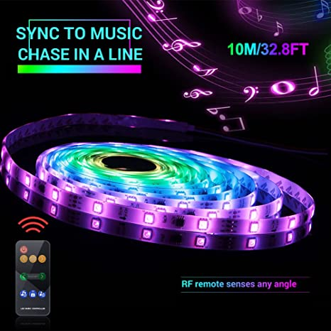 Amazon com: Led Strip Lights Sync to Music, 10M/32 8ft Chase Effect
