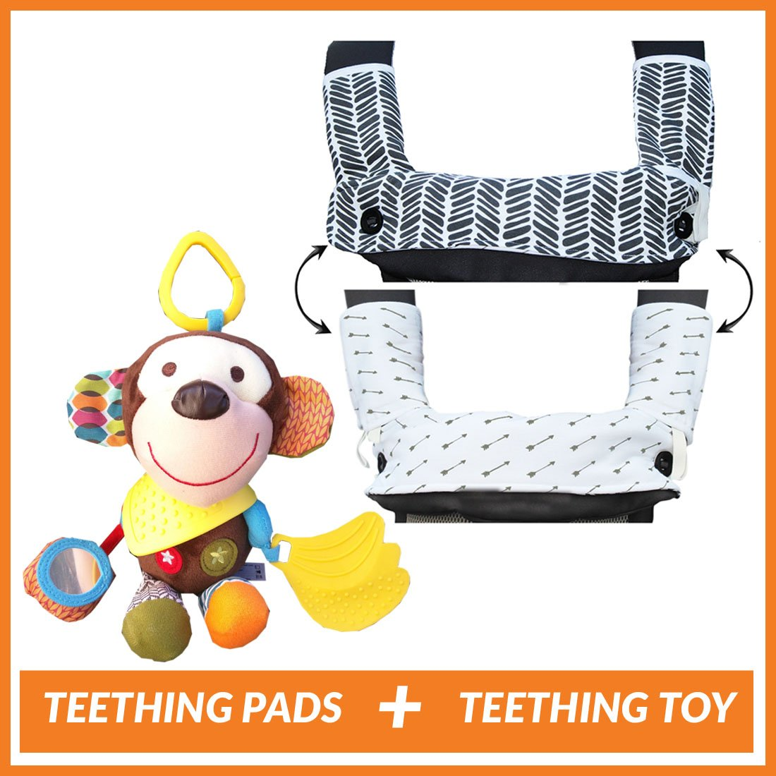 Teething Drooling Baby Set – Includes Chew Suck Pads for Ergobaby 360 Four Position Baby Carrier & Monkey Plush Activity Teether Toy for Infants and Toddlers -Ideal gift for Baby Shower & Parent Gift