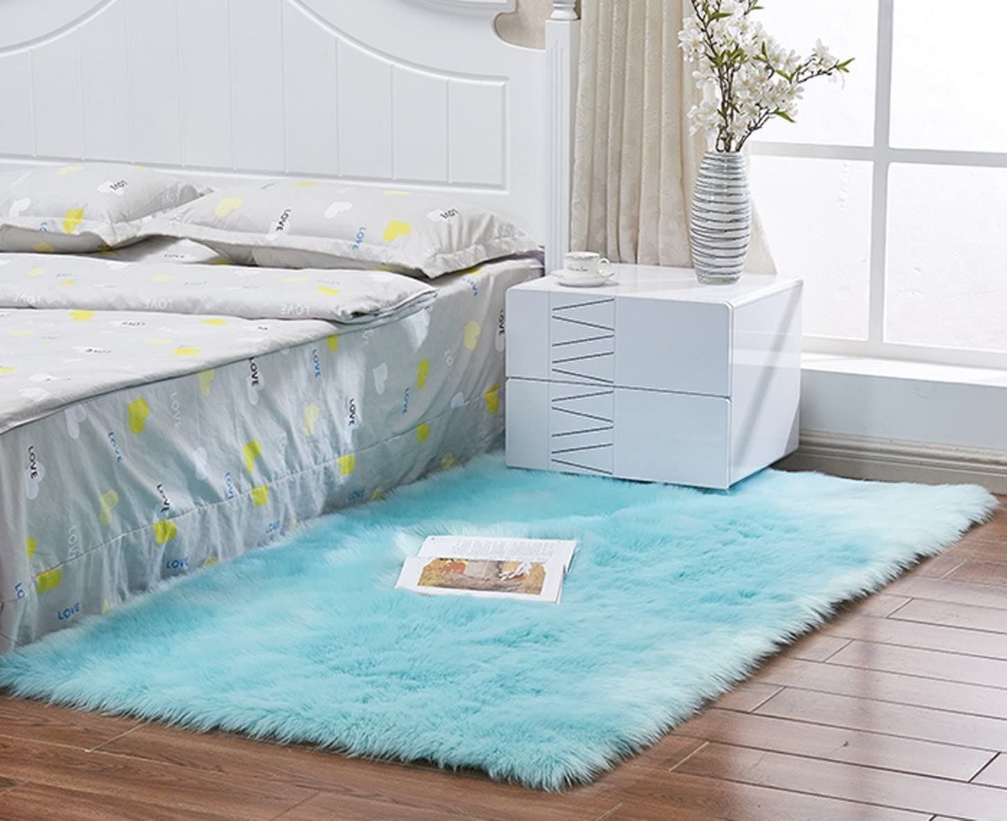 Indoor Furry Fluffy Soft Solid Faux Fur Sheepskin Area Rugs Pads,Livingroom Bedroom Nursery Room Floor Rug Carpet For Home Decorate,Blue,2 X3 Small