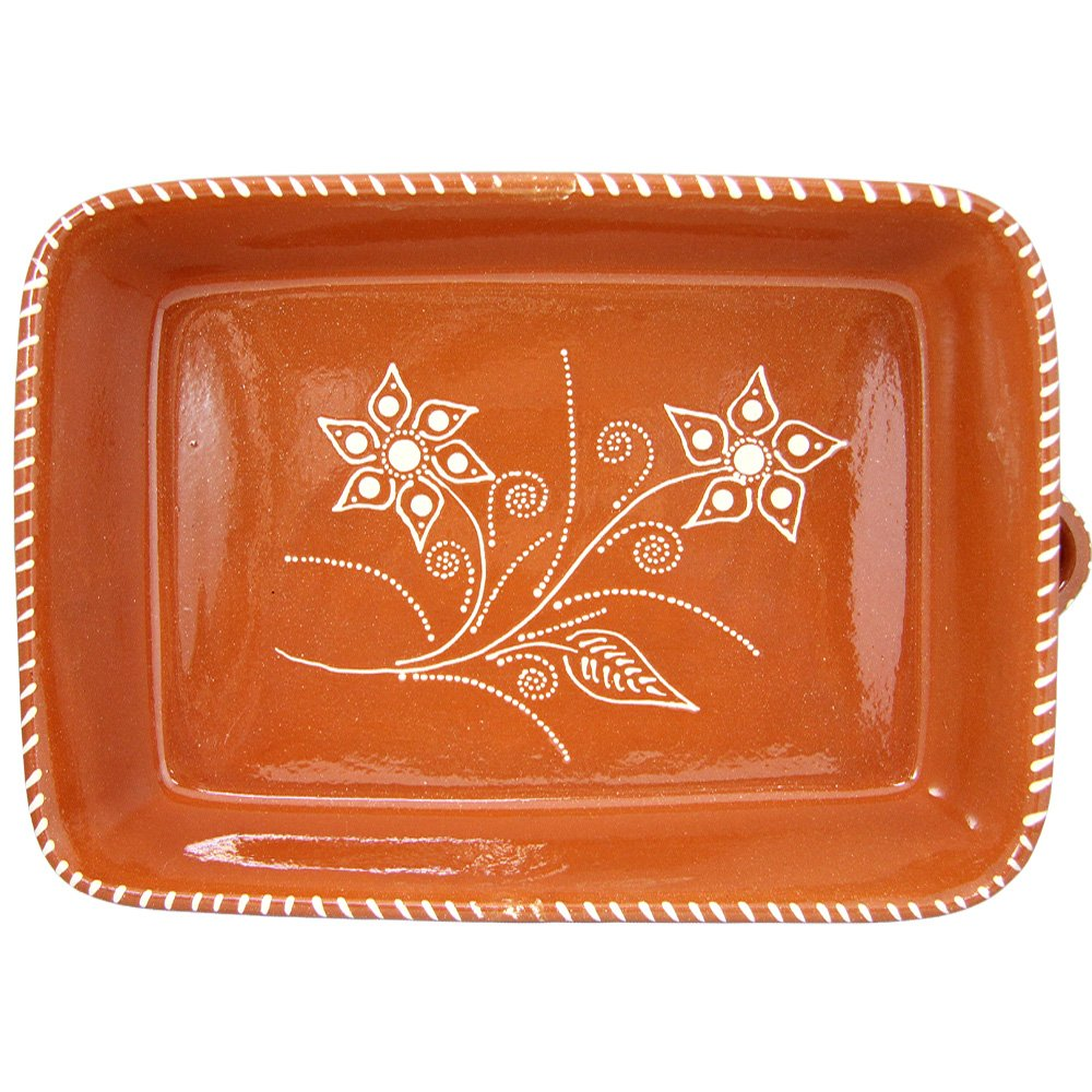 Vintage Portuguese Traditional Clay Terracotta Pottery Roasting Tray Made In Portugal (N.2 13 5/8 x 9 3/4 x 3 1/8'' Inches)