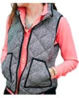 FISACE Women's Sleeveless Zip-up Plaid Quilted Vest Coats Jacket