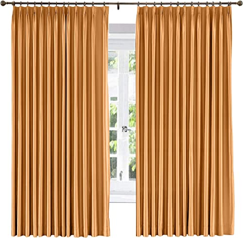 ChadMade Soundproof Energy Saving Polyester Cotton Silk Solid Curtain Copper 120 W x 102 L, Pinch Pleated Silk Satin Drapery Window Treatment Panels with Blackout Lined 1 Panel