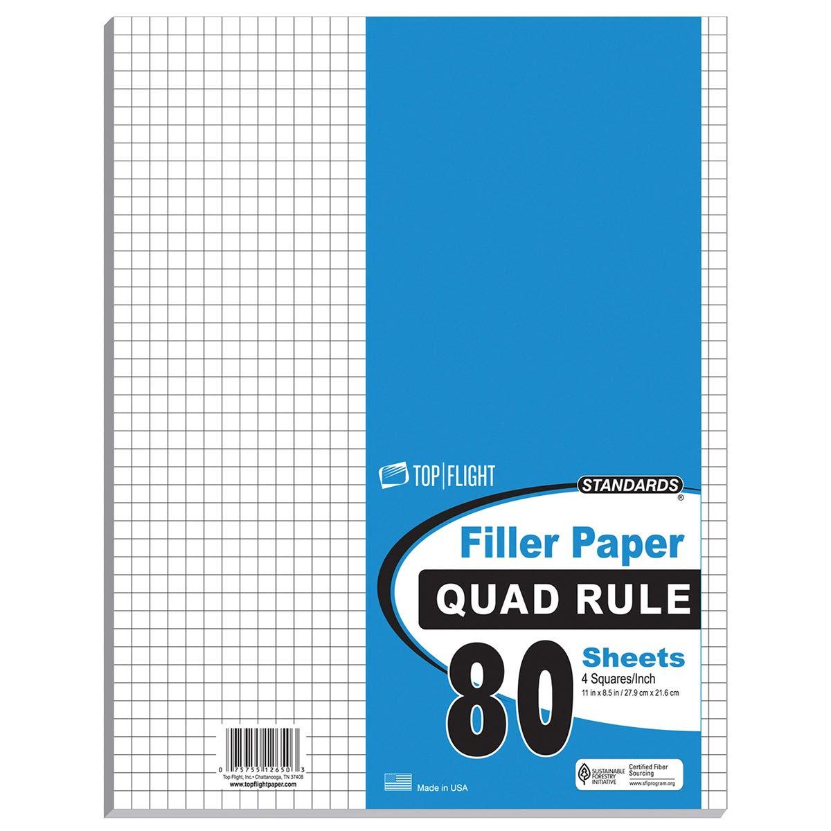 80 Count Quad Ruled Filler Paper - 11'' x 8.5'' (Case of 12)