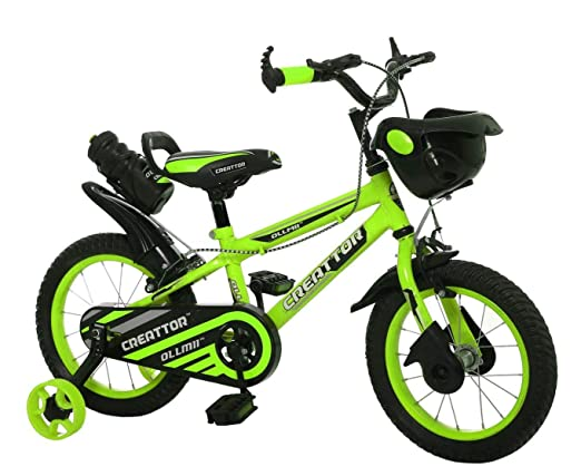 Ollmii Bikes Creattor 14 inches Steel Rim Green BMX Unisex Kids Cycle for 3 to 5 Years
