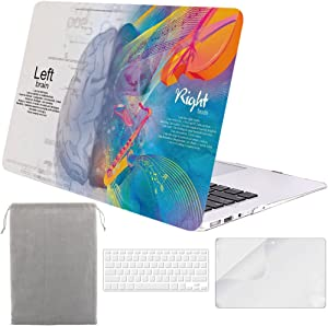Sykiila for Older MacBook Air 13 Inch Case for 2010-2017 Old Version,Model A1369 / A1466 4 in 1 Hard Shell Case & HD Screen Protector & TPU Keyboard Cover & Sleeve - Left Right Brain