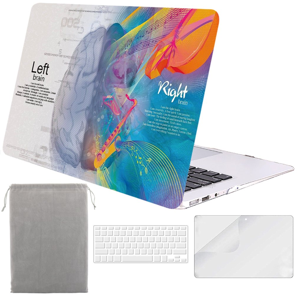 Sykiila - Compatible MacBook Air 13 inch Case Hard Cover 4 in 1 Folio Case + HD Screen Protector Film + TPU Keyboard Cover + Sleeve for Air 13'' Model: A1369 / A1466 - Left Right Brain