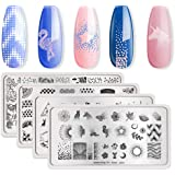 BORN PRETTY 4Pcs Nail Art Stamping Template Set French Design Lace Maple Leaf Cute Animal Solar System Star Moon Outer Space Manicuring Print Image Plate