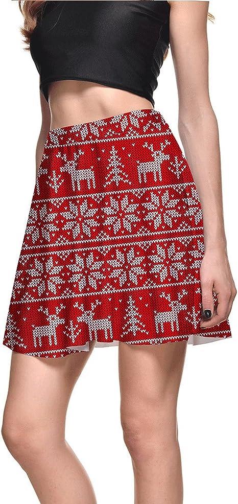 RU Short skirt Falda Plisada de Media Longitud con Copo de Nieve ...