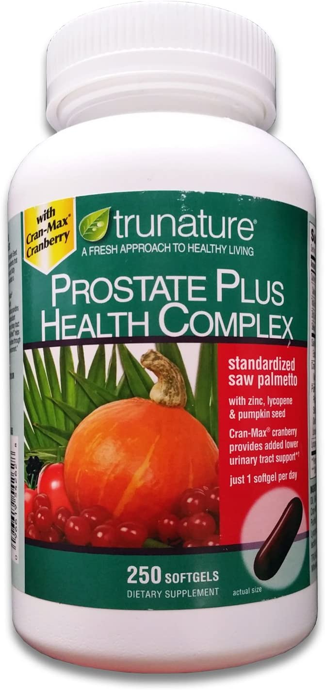 TruNature Prostate Plus Health Complex – Saw Palmetto with Zinc, Lycopene, Pumpkin Seed – 250 Softgels