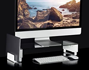 Mount-It! Glass Monitor Stand with 3 USB Ports | Desktop Riser Fits 24, 27, 30, 32 Inch Screens, 66 Lbs Capacity