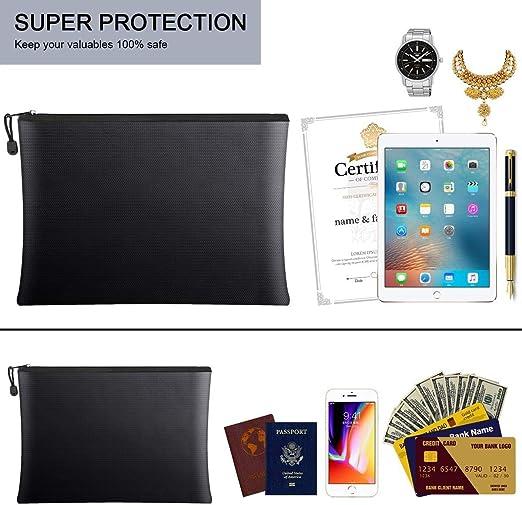 denaro Borsa ignifuga passaporto borsa organizer con cerniera per proteggere oggetti di valore 2 pezzi di custodia sicura ignifuga e impermeabile documenti gioielli
