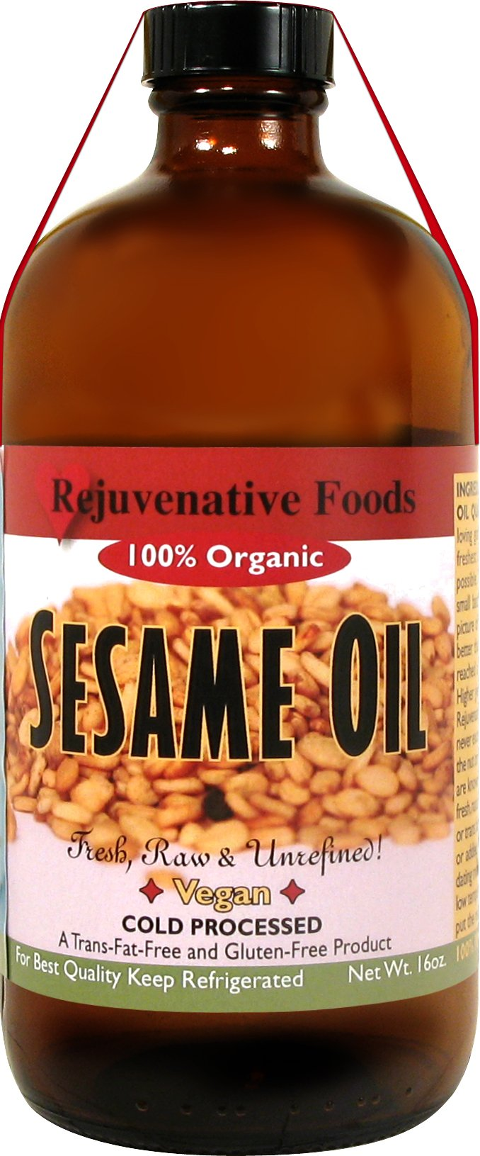 Rejuvenative Foods Virgin & Unrefined Certified Organic Sesame Seed Oil Pure and Fresh Raw Completely Low-Temp Pressed and Processed Food Grade Edible Culinary-32 oz by Rejuvenative Foods