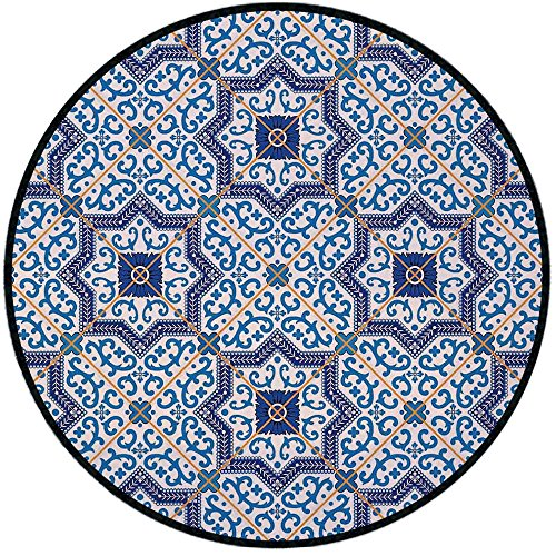 (Printing Round Rug,Moroccan,Moroccan Portuguese Style Classic Tiles Ornaments Islamic Historical Buildings Art Mat Non-Slip Soft Entrance Mat Door Floor Rug Area Rug For Chair Living Room,Blue White)