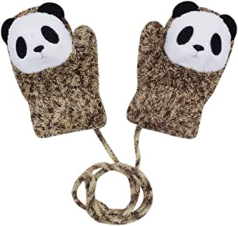Toddlers Baby Girl Boys Cute Cartoon Warm Sound Gloves Mittens with String for 0-12 Months (Coffee Panda)