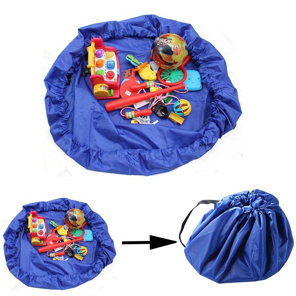 Sacchetto per riporre giocattoli che si trasforma in un tappeto blu da gioco, tasca interna per giocattoli speciali. Basta afferrarlo e sollevarlo per richiuderlo Innox Trading Ltd