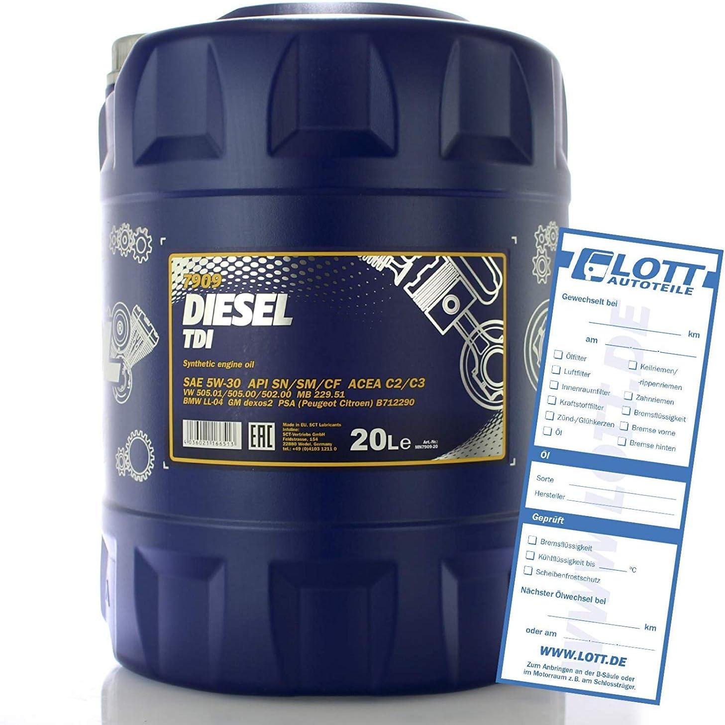 Mannol Diesel Tdi 5w 30 Api Sn Cf Motorenöl 20 Liter Auto