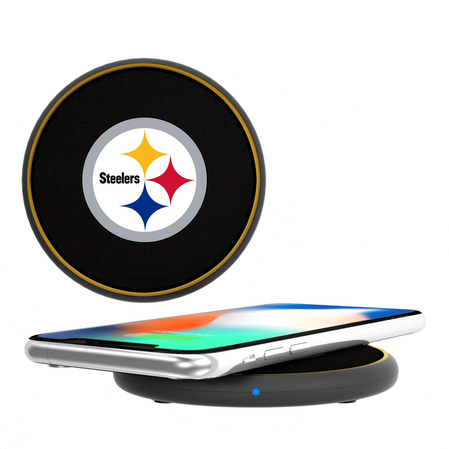 Keyscaper KCHGW1-KNFL-PSTS01 Pittsburgh SteelersWireless Charger with Diagonal Stripe Design