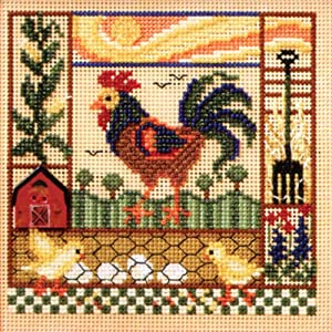 Barnyard Morning Beaded Counted Cross Stitch Kit Mill Hill Buttons & Beads 2008 Spring MH148106