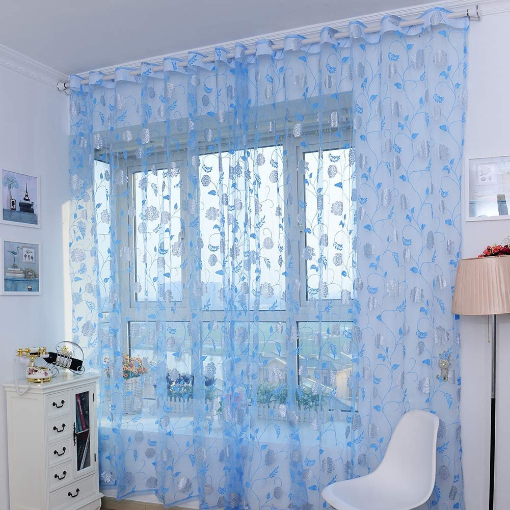 LADEY Gold Foil Peony Solid Sheer Window Curtains Grommet Voile Panels for Bedroom (One Pair,