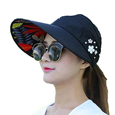 Romantic moments Women s Beach Sun Hats Summer Pearl Packable Wide Brim UV  Protection Sun Hat with d327471f949d