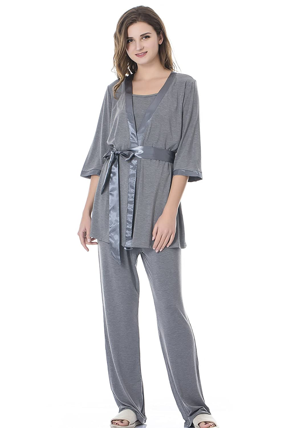 Bearsland Maternity Women's 3 Pieces Soft Nursing Pajamas Set Postpartum Sleepwear