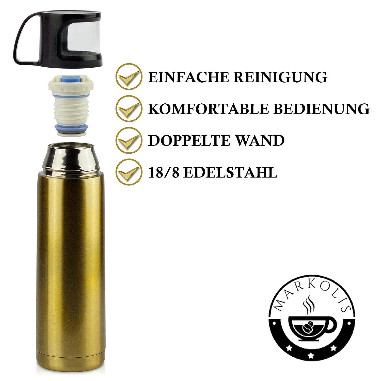 Markolis Thermoskanne 500ml Doppelwand Vakuum Perfekt f/ürs Kaffee /& Tee Edelstahl Kanne mit Becher f/ür Ihren Alltag