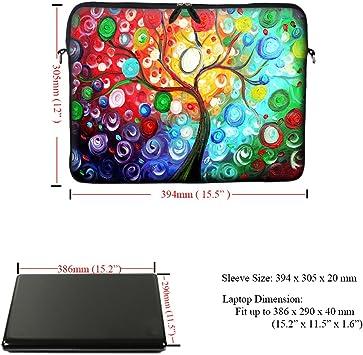 Mandala Design Meffort Inc 15 15.6 inch Neoprene Laptop Sleeve Bag Carrying Case with Hidden Handle and Adjustable Shoulder Strap