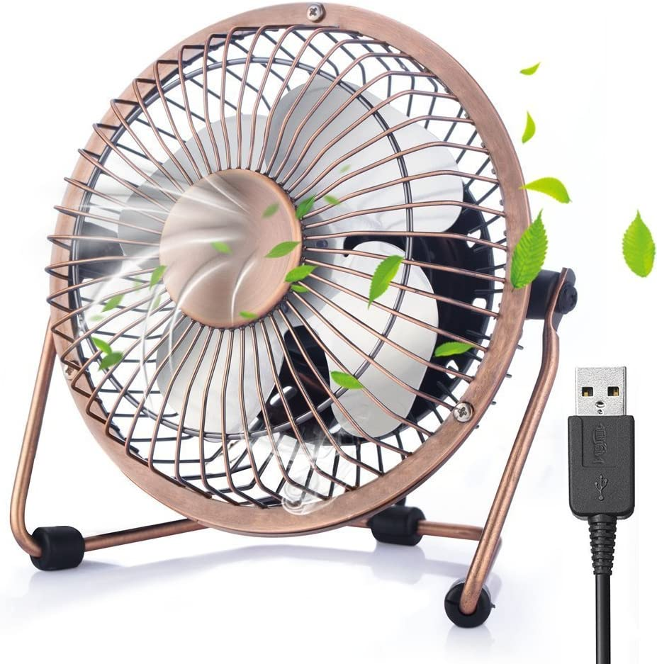 ivoler Mini Ventilador USB Silencioso, Metálico Ventilador de Mesa Potente USB Fan con Ajustable 360 Grados de Rotación para Personal Portátil de Escritorio Hogar Oficina o Viaje, 4 Pulgadas, Cobre