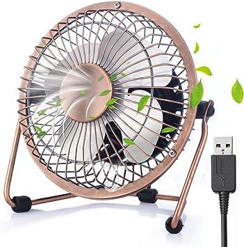 ivoler Mini Ventilador USB Silencioso, Metálico Ventilador de Mesa Potente USB Fan con Ajustable 360 Grados de Rotación para Personal Portátil de Escritorio Hogar ...