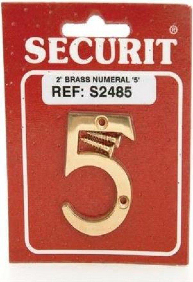 50MM BRASS DOOR HOUSE NUMBER NO 5