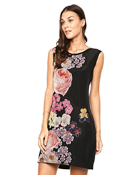 Desigual por L Arva de la mujer negro Floral Shift vestido negro 40