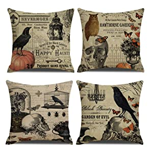 QIQIANY Pack of 4 Vintage Halloween Decoeative Throw Pillow Covers 18''x18'' Owl Crow Pumpkin Skull Halloween Throw Pillow Cases Home Decor Cushion Covers for Sofa Bedroom