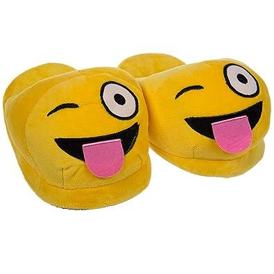 Amazon.com: Emoji House Slippers Funny Soft Plush For Adults Kids ...