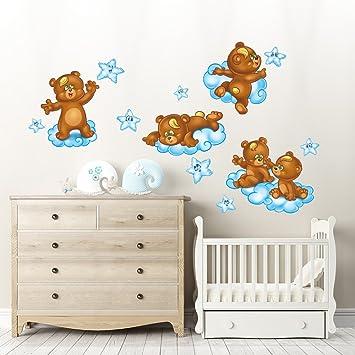 rcc0027 adesivo murale per bambini wall art - orsetti sulle nuvole ... - Decorazioni Pareti Orsetti