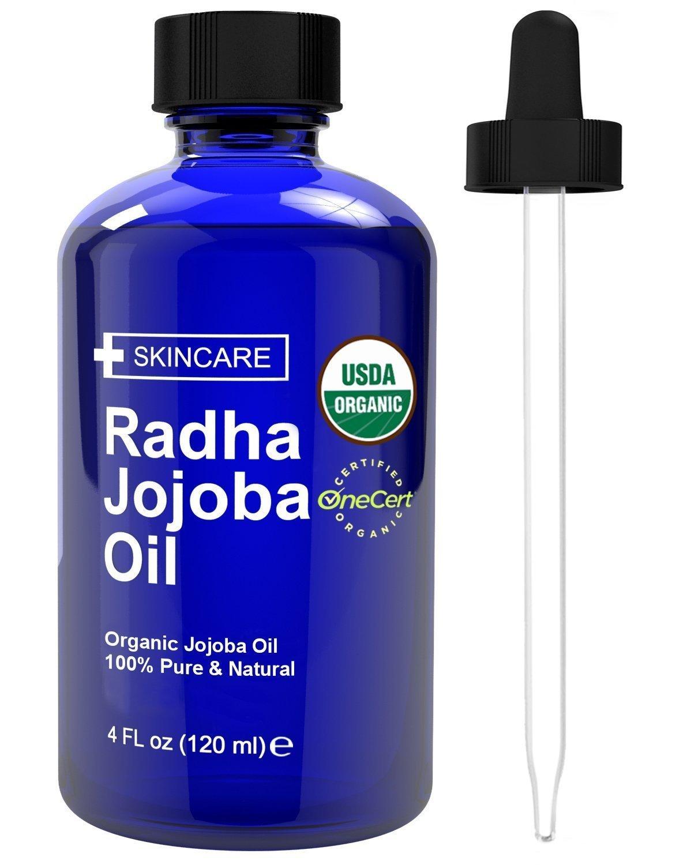 Radha Beauty USDA Certified Organic Jojoba Oil, 4 fl oz. - 100% Pure Unrefined Cold Pressed Jojoba - Great Carrier Oil for Moisturizing Hair, Skin, & Nails