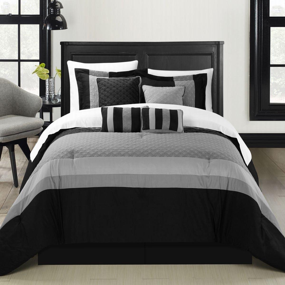 Chic Home Diamante 8-Piece Comforter Set, Queen, Black