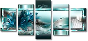 Turquoise Canvas Art Wall Decor Flower Print Painting