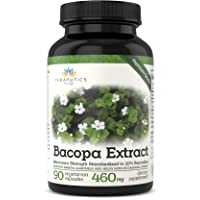 Bacopa Monnieri Plant Leaf Extract | 20% Bacosides | Non GMO 460mg Nootropic for...