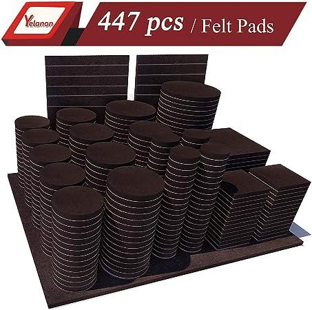 Yelanon Furniture Pads 447 Pieces Self Adhesive Felt Pad Brown