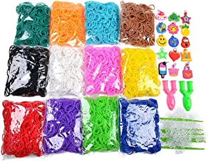 5400+ Rainbow Rubber Bands Refill Set Includes: 4800+ Premium Quality Loom Rubber Bands in 12 Unique Colors + 300 S-Clips + 15 Lovely Charms + 6 Crochet Hooks + 2 Y Loom, No Loom Board Include.