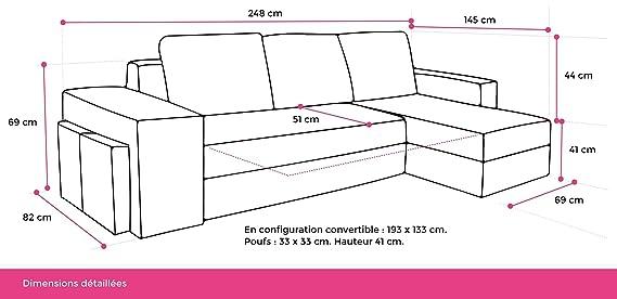 Bestmobilier Toledo – Sofá de ángulo reversible, convertible ...