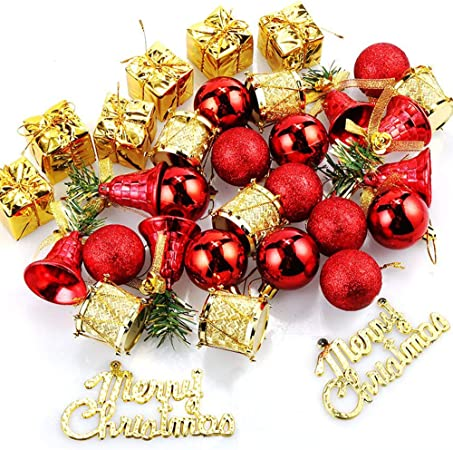 Amacoam Bolas de Navidad Rojas Adornos Arbol Navidad Mini Bolas Navidad Inastillable Plástico Campanas Mini Golden Drum Colgantes Conjunto de Adornos Colgantes de Arboles de Navidad 32 Piezas: Amazon.es: Hogar